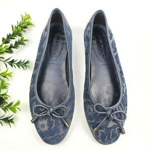 THE FLEXX Blue Suede Floral Ballet Flats  S18